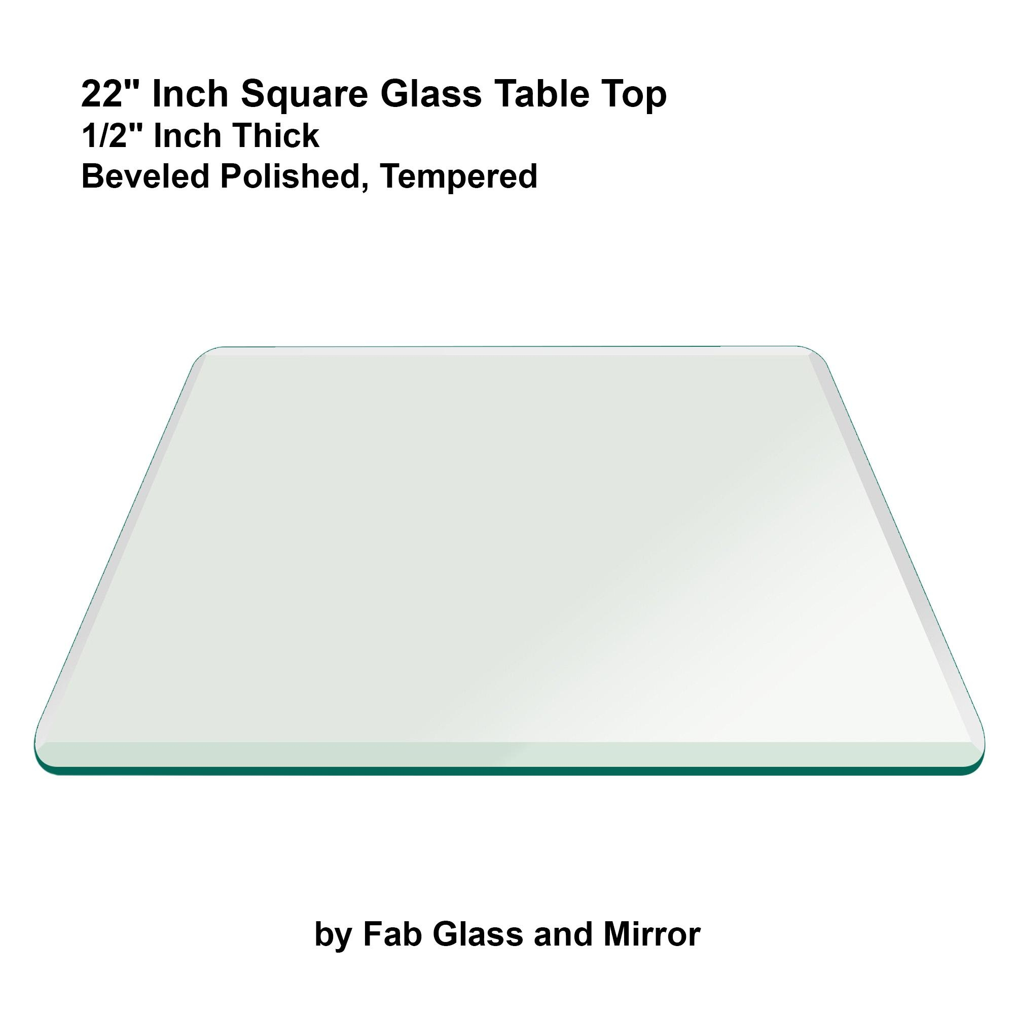 "Fab Glass And Mirror Square Clear Glass Table Top With 1"" Beveled In Square Bevelled Mirror (Image 6 of 20)"