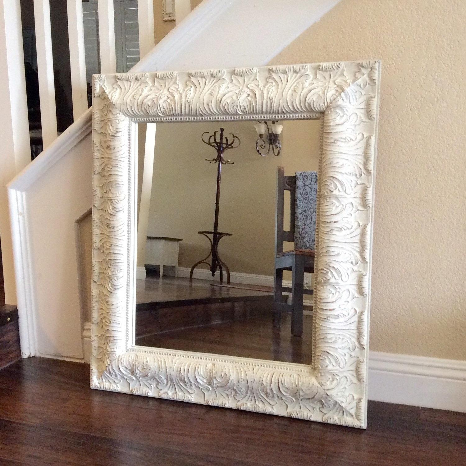 Fabulous Large Mirror White Vanity Mirror Shabby Chic Mirror Regarding Large Shabby Chic Mirror White (Image 9 of 20)