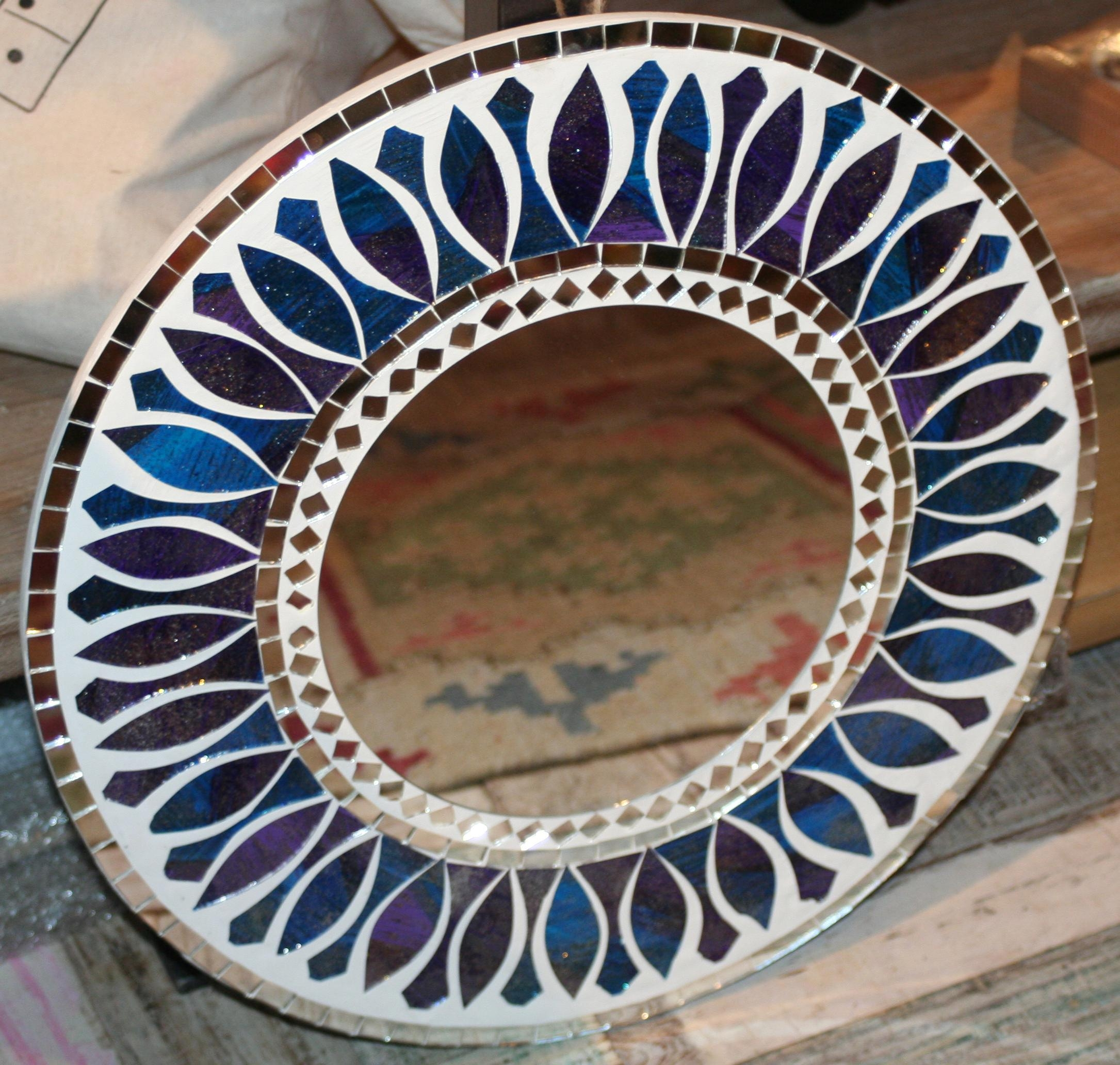 Fair Trade Round Mosaic Mirror – Blue & Purple – Second Nature Online Intended For Round Mosaic Mirrors (View 3 of 20)