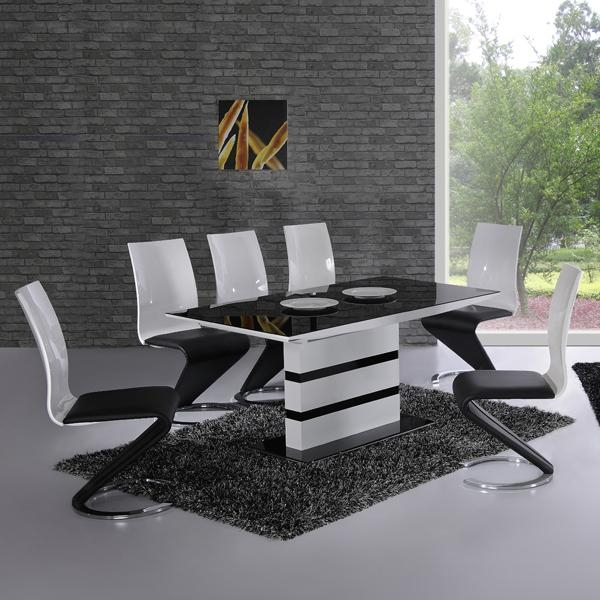 Fancy Black White Dining Table Chairs Arctic Gloss Z Chair Regarding White Dining Tables With 6 Chairs (View 9 of 20)