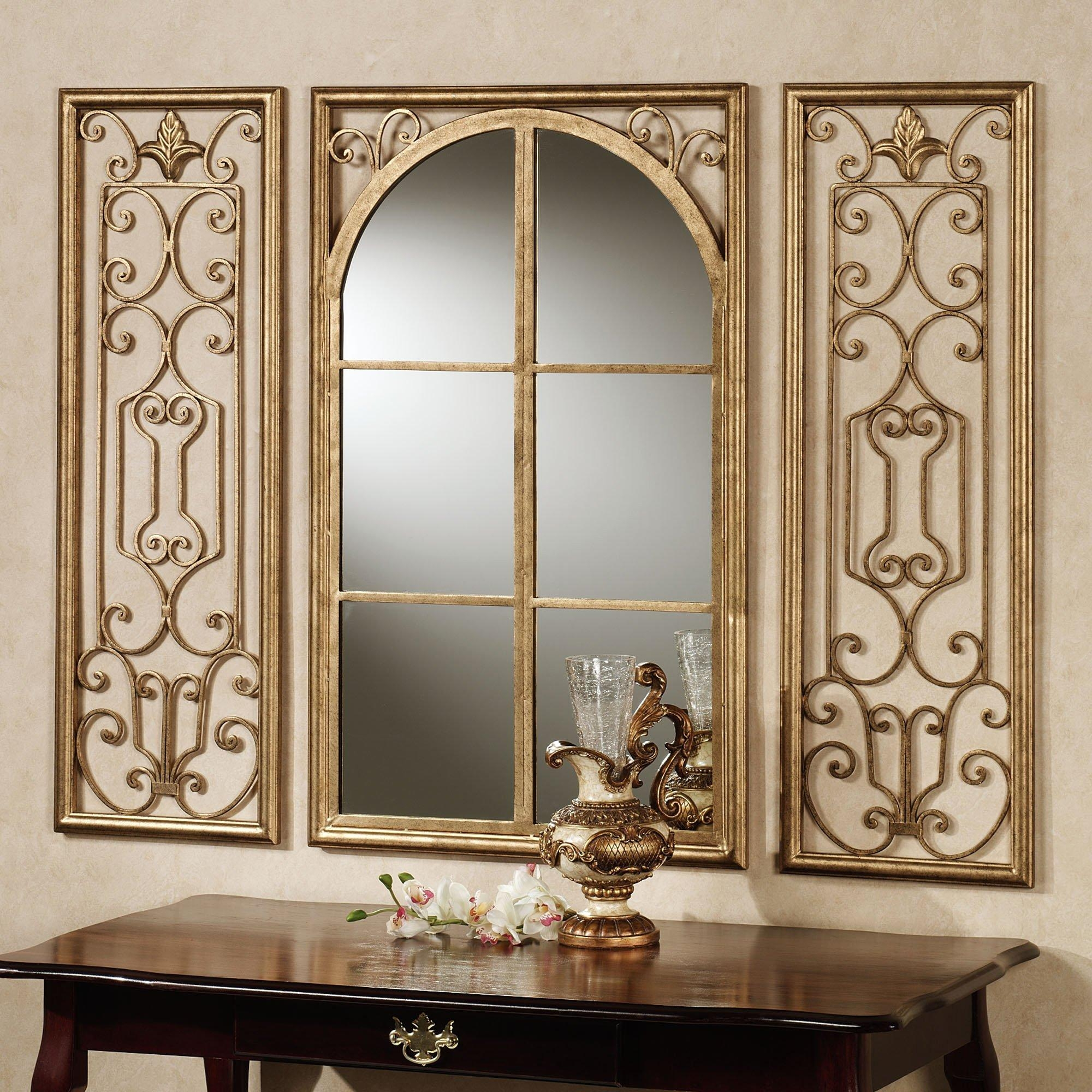 Fancy Decorative Mirrors For Living Room Using Gold Painted Pertaining To Black Wrought Iron Mirrors (Image 8 of 20)