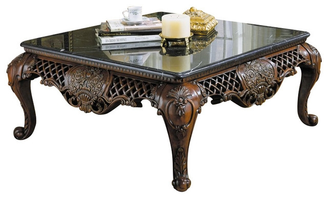 Fantastic Best Cherry Wood Coffee Table Sets Regarding Homelegance Gladstone 3 Piece Square Coffee Table Set With Marble (Image 21 of 50)