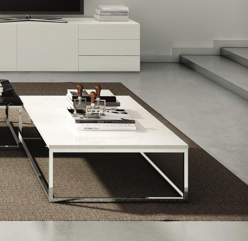 Fantastic Best Coffee Tables With Chrome Legs Throughout Temahome Prairie Coffee Table In White Marble Chrome Or Black Legs (Image 16 of 50)