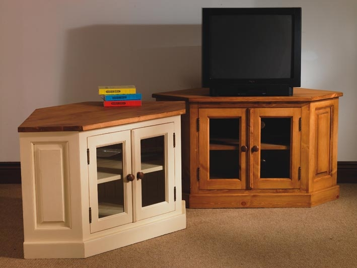 Fantastic Best Painted Corner TV Cabinets Regarding Mottisfont Waxed Pine Corner Tv Unit With Glazed Doors (View 21 of 50)
