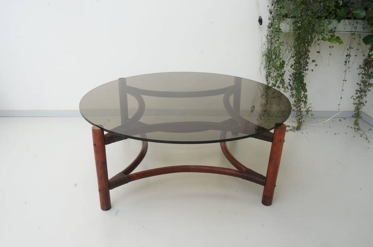 Fantastic Best Retro Smoked Glass Coffee Tables Throughout Vintage Mid Century Rattan Bamboo Smoked Glass Large Round Coffee (View 31 of 40)