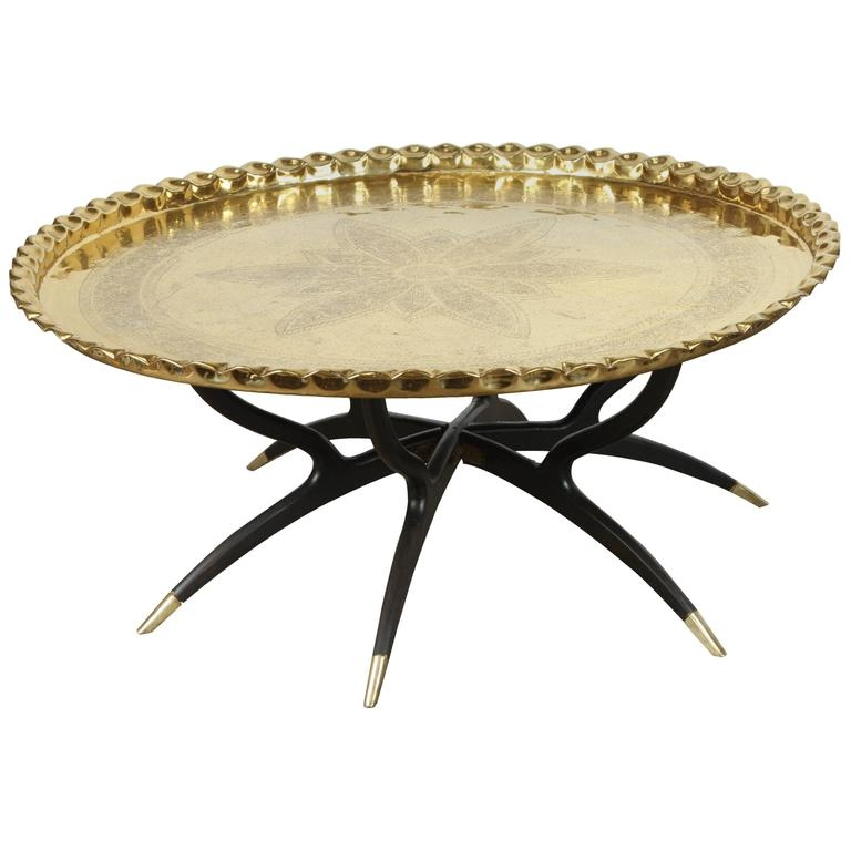 Fantastic Best Round Tray Coffee Tables With Regard To Large Polished Brass Tray Coffee Table On Spider Leg At 1stdibs (Image 19 of 50)