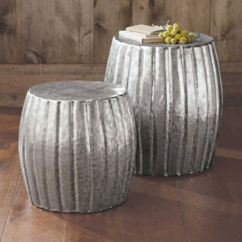 Fantastic Best Silver Drum Coffee Tables Within Silver Hammered Drum Tables Collection Vivaterra (Image 10 of 50)