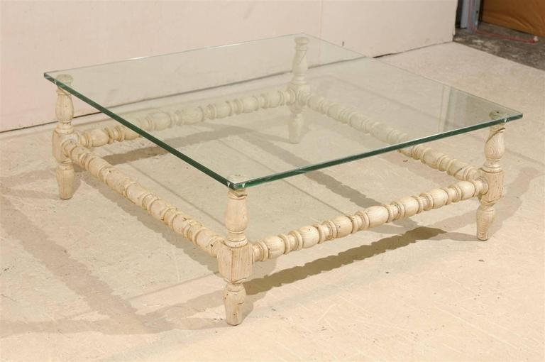 Fantastic Best Square Shaped Coffee Tables Inside Square Shaped Glass Top Table With Bleached Wood Base And Turned (View 27 of 50)