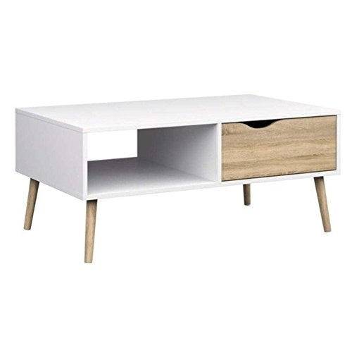 Fantastic Best White And Oak Coffee Tables Intended For Tvilum Diana Coffee Table In White Oak (Image 17 of 50)