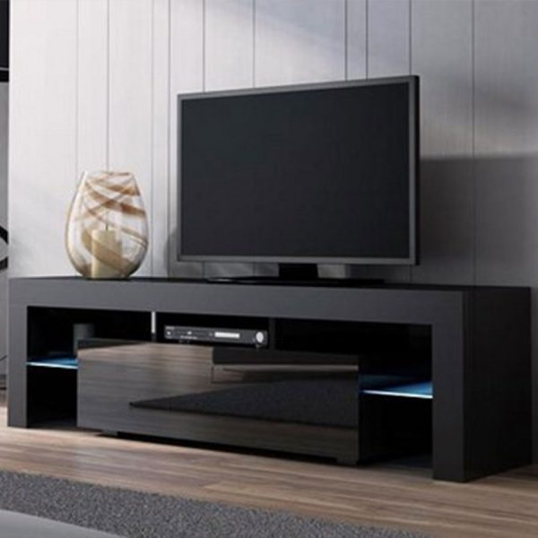 Fantastic Brand New Black Modern TV Stands With Modern Tv Stand 160cm High Gloss Cabinet Rgb Led Lights Black Unit (Image 11 of 50)