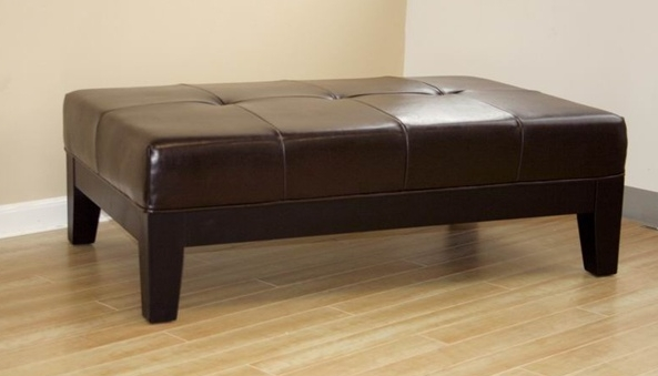 Fantastic Brand New Brown Leather Ottoman Coffee Tables With Storages Intended For Brown Leather Ottoman Coffee Table 4 Tray Top Espresso Brown (Image 11 of 40)