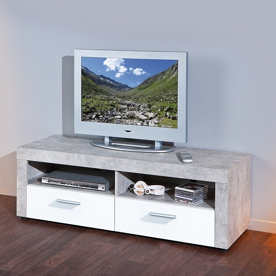Fantastic Brand New Grey TV Stands With Regard To Croagh Tv Stand In Light Grey With 2 Drawers In White (Image 22 of 50)