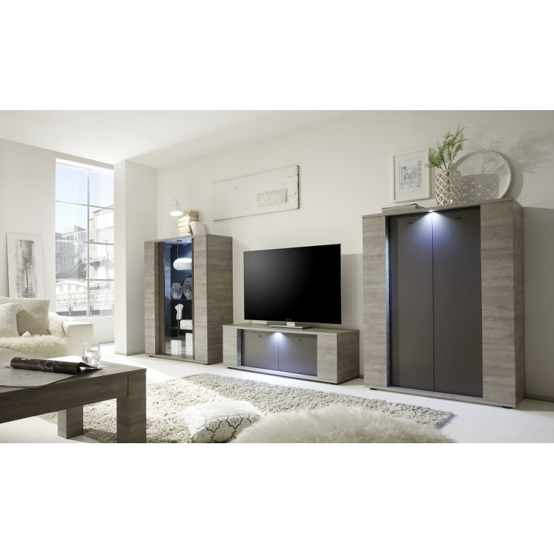 Fantastic Brand New Grey Wood TV Stands Within Palermo Small Tv Stand In Oak Grey With Led Lights Tv Stands (Image 20 of 50)