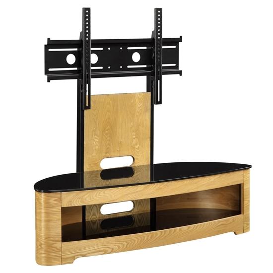Fantastic Brand New Oak Veneer TV Stands In Curved Wooden Oak Veneer Lcdplasma Cantilever Tv (Image 20 of 50)