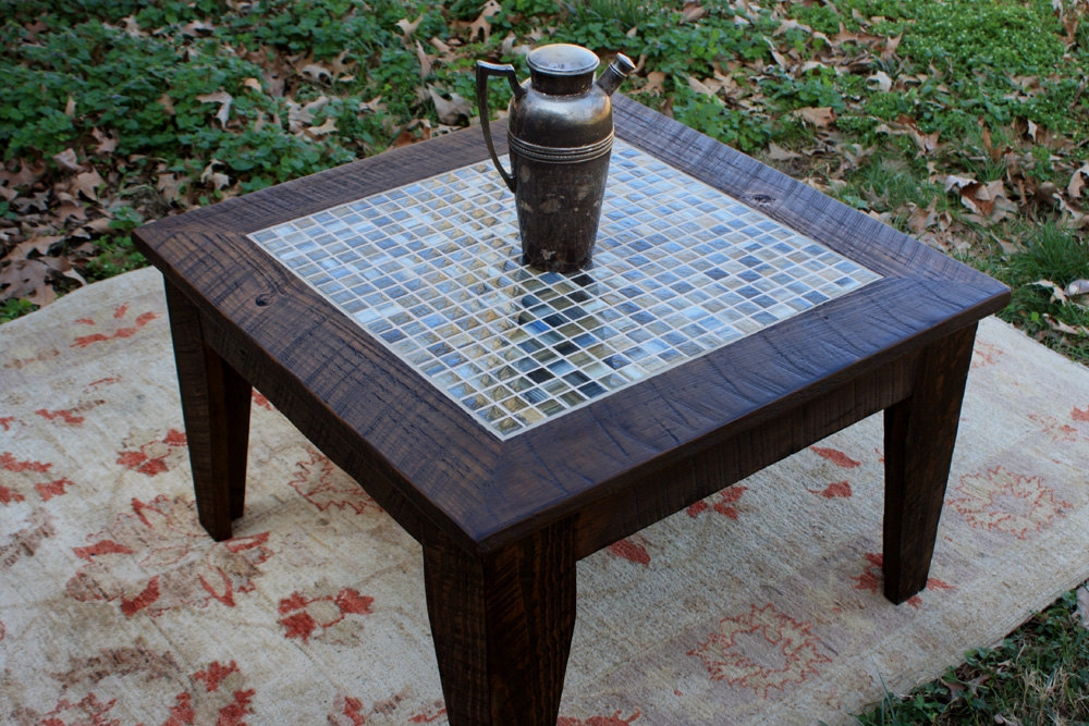 Fantastic Brand New Wooden Garden Coffee Tables Intended For Small Coffee Table Tile Mosaic Reclaimed Wood Rustic (Image 17 of 50)