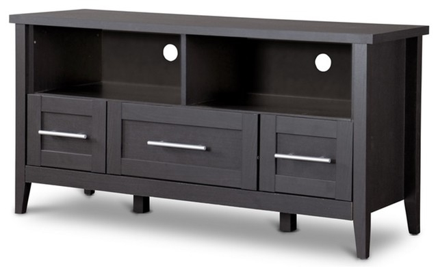 Fantastic Common Black TV Stands With Drawers Within Studio Espresso 3 Drawer Tv Stand Transitional Entertainment (Image 15 of 50)