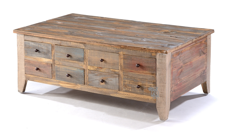 Fantastic Common Coffee Tables With Lift Top And Storage With Regard To Coffee Table Solid Pine Wood Rustic Eight Drawer Coffee Table (Image 11 of 50)
