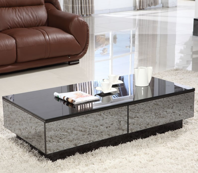 Fantastic Common Coffee Tables With Shelves In Rectangular Mirrored Coffee Table With Shelves (Image 22 of 50)