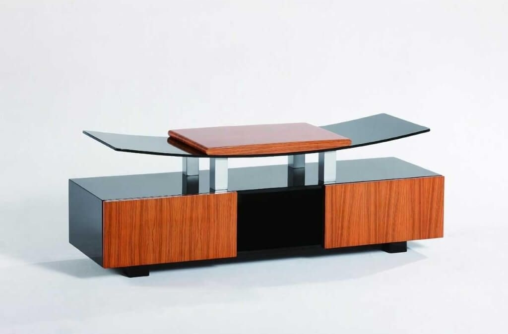 Fantastic Common Contemporary Glass TV Stands Within Furniture Curvy Wood And Tempered Glass Modern Tv Stands With (Image 16 of 50)