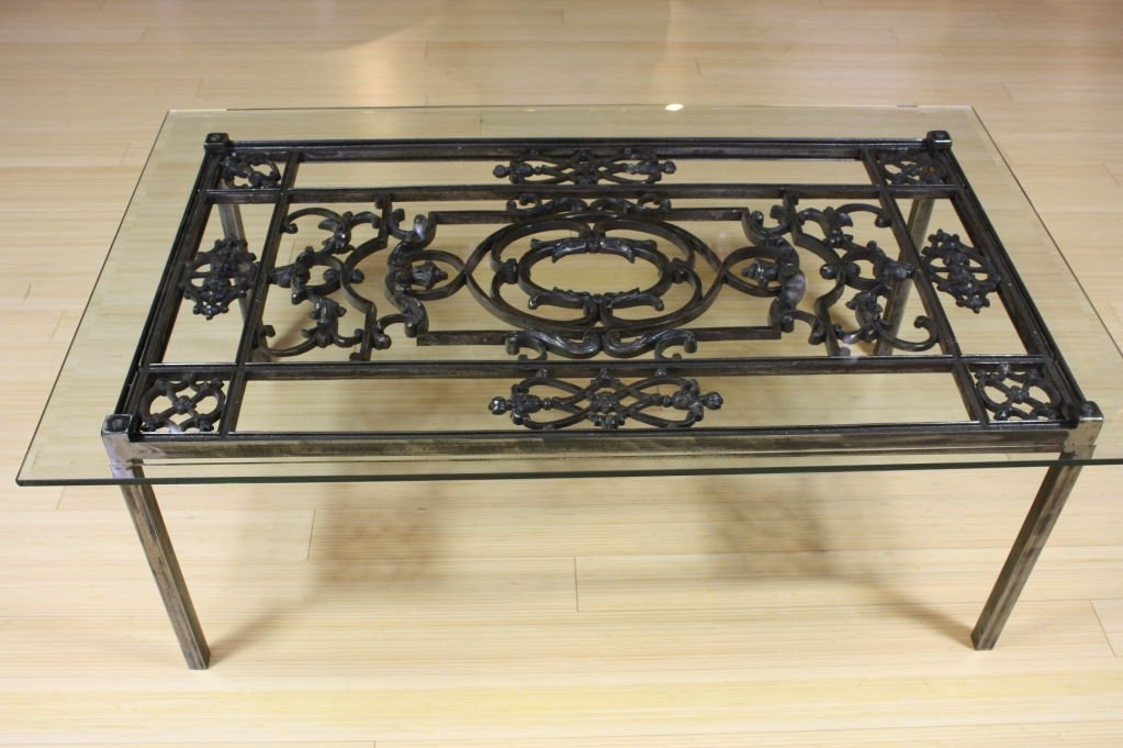 Fantastic Common Glass And Metal Coffee Tables Inside French Wrought Iron And Glass Top Coffee Table For Sale At 1stdibs (View 38 of 50)