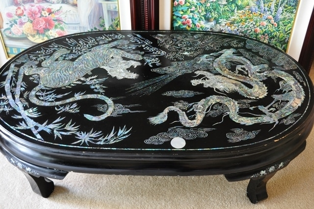 Fantastic Common Mother Of Pearl Coffee Tables Regarding Vintage Korean Lacquer Coffee Table With Mother Of Pearl Inlay (Image 16 of 50)