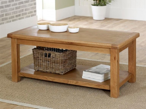 Fantastic Common Oak Coffee Table With Shelf Intended For Modern Coffee Tables With Storage Contemporary Furniture (View 6 of 50)
