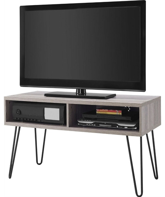 Fantastic Common Oak TV Stands Pertaining To Modern Tv Stand Oak Finish With Mid Century Style Metal Legs (Image 19 of 50)