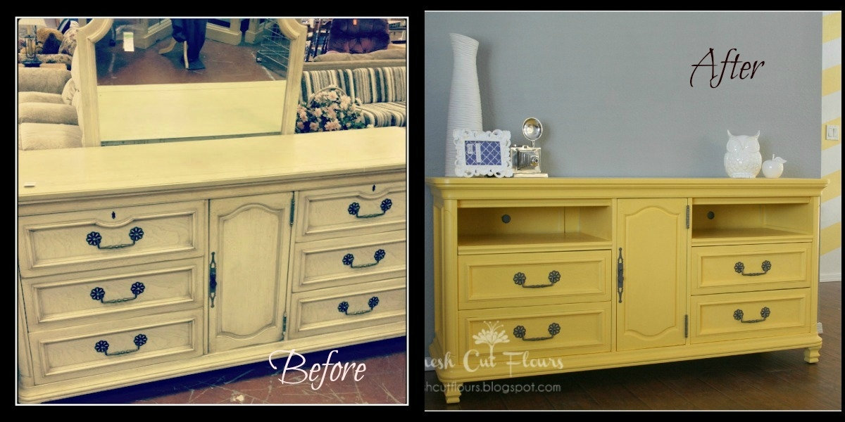 Fantastic Common Yellow TV Stands Intended For Fresh Cut Flours Dresser Turned Tvmedia Stand (View 15 of 50)