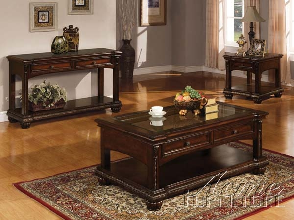 Fantastic Deluxe Cherry Wood Coffee Table Sets Intended For Living Room Table Set Sauder Beginnings 3 Pack Table Set Cinnamon (View 7 of 50)