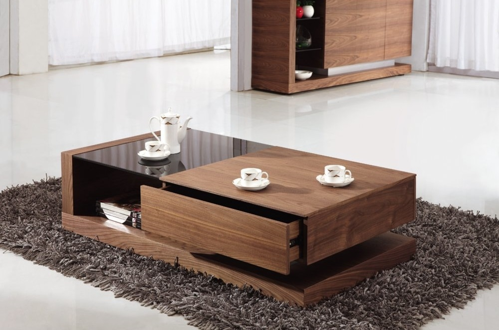 Fantastic Deluxe Dark Wood Coffee Tables With Glass Top Inside Glass Living Room Table Set (Image 15 of 50)