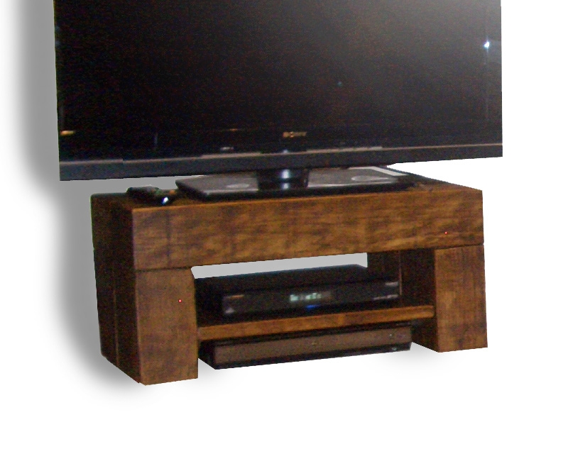 Fantastic Deluxe Dark Wood TV Stands Intended For Chunky Step Tv Stand The Cool Wood Company (View 42 of 50)
