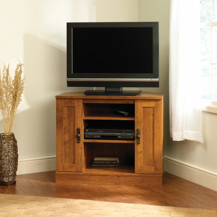 Fantastic Deluxe Double TV Stands Pertaining To Furniture Brown Wooden Corner Tv Stand With Double Wooden Storage (Image 14 of 50)