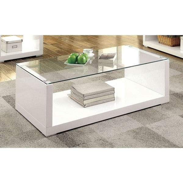 Fantastic Deluxe Gloss Coffee Tables In Furniture Of America Shura Contemporary High Gloss White Coffee (View 28 of 50)