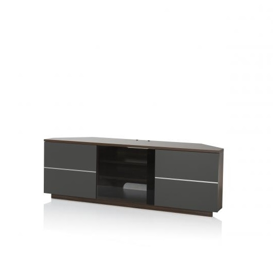 Fantastic Deluxe Grey Corner TV Stands Inside Adele Corner Tv Stand In Walnut With Glass And Matt Grey (Image 18 of 50)
