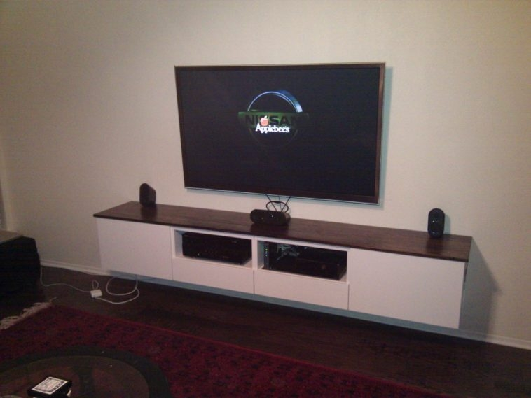 Fantastic Deluxe Led TV Cabinets With Furniture White Wooden Floating Tv Cabinets With Brown Top And (Image 19 of 50)