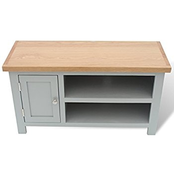 Fantastic Deluxe Small Oak TV Cabinets In Arklow Painted Oak Dovetail Grey Small Tv Stand Oak Tv Cabinet (Image 21 of 50)