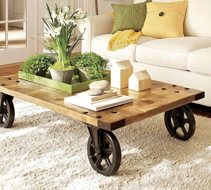 Fantastic Deluxe Wheels Coffee Tables In Best 25 Coffee Table With Wheels Ideas On Pinterest Industrial (View 2 of 50)