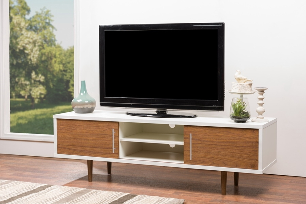 Fantastic Deluxe White And Wood TV Stands Pertaining To Baxton Studio Gemini Wood Contemporary Tv Stand (Image 19 of 50)