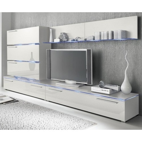 Fantastic Deluxe White Gloss TV Cabinets Intended For Tv Unit Storage Living Room Modern Wall Units High Gloss (Image 18 of 50)