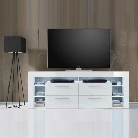 Fantastic Deluxe White Gloss TV Stands With Drawers Within Sorrento Tall Lcd Tv Stand In White Gloss With White Led (Image 11 of 50)
