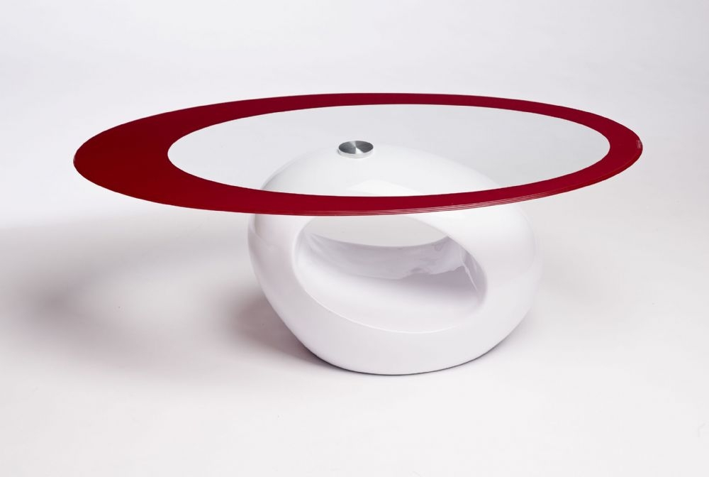 Fantastic Deluxe White Retro Coffee Tables Within Contemporary Retro Designed Oval Coffee Table Red White (View 27 of 50)