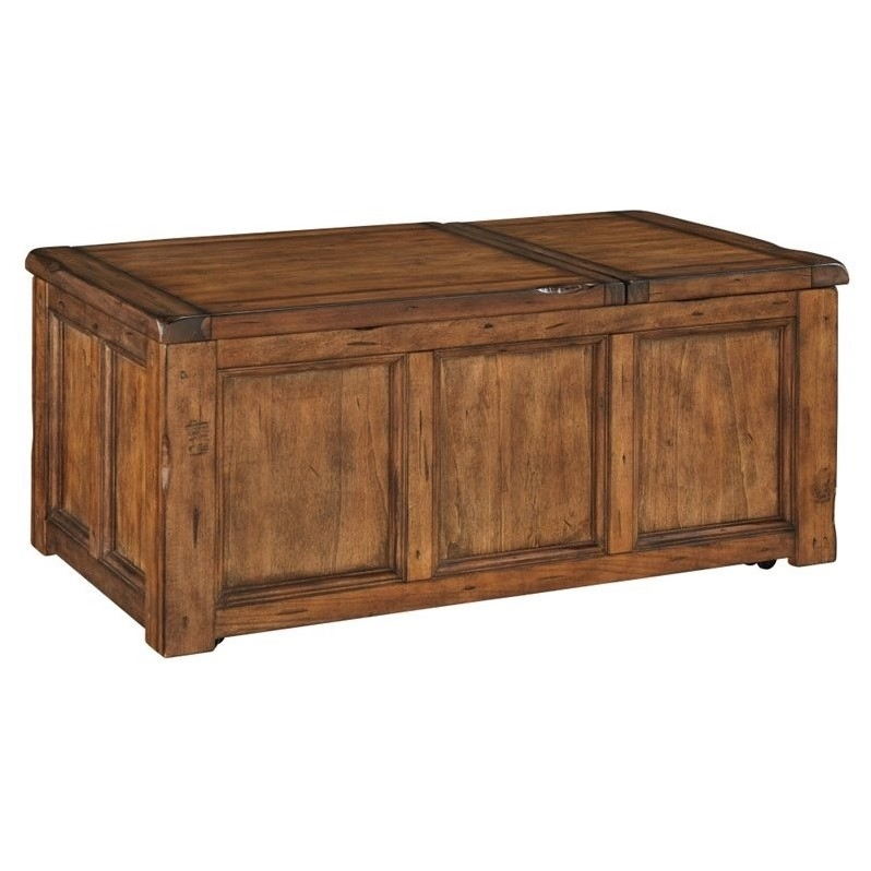 Fantastic Elite Coffee Tables With Lifting Top Inside Ashley Tamonie Rectangular Lift Top Coffee Table In Medium Brown (View 32 of 50)