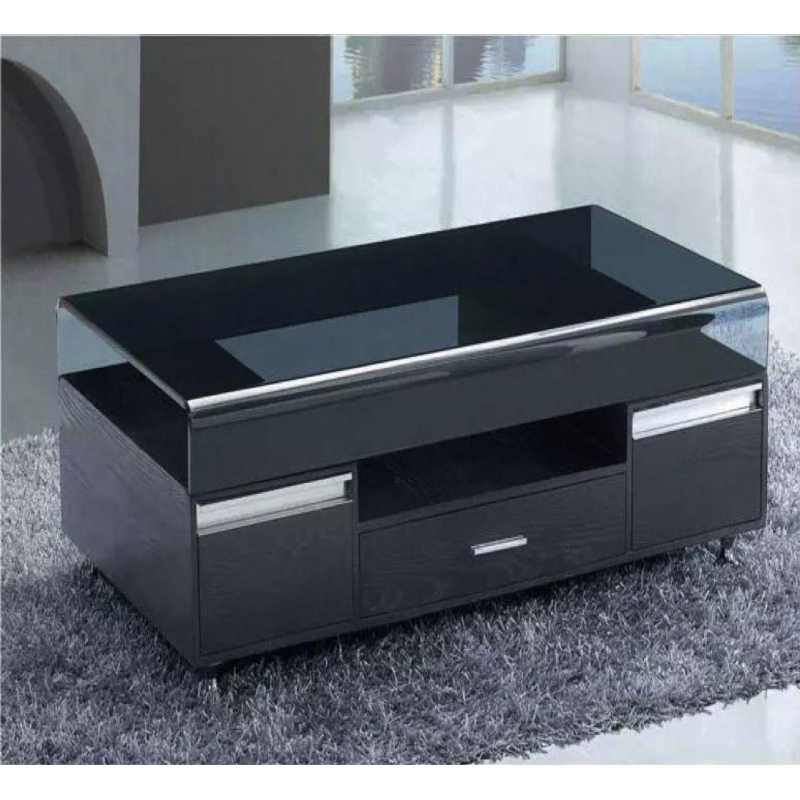 Fantastic Elite Dark Glass Coffee Tables Pertaining To Black Glass Top Coffee Table With 3 Drawers Living Room Furniture (Image 21 of 50)