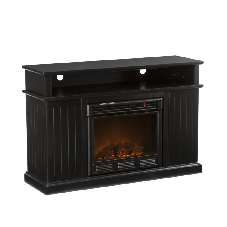 Fantastic Elite Single Shelf TV Stands In Furniture Rectangle Black Wooden Tv Stand With Fireplace Having (View 50 of 50)