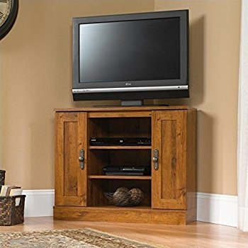 Fantastic Elite Solid Oak Corner TV Cabinets Intended For Amazon Sauder August Hill Corner Entertainment Stand Oiled (View 30 of 50)
