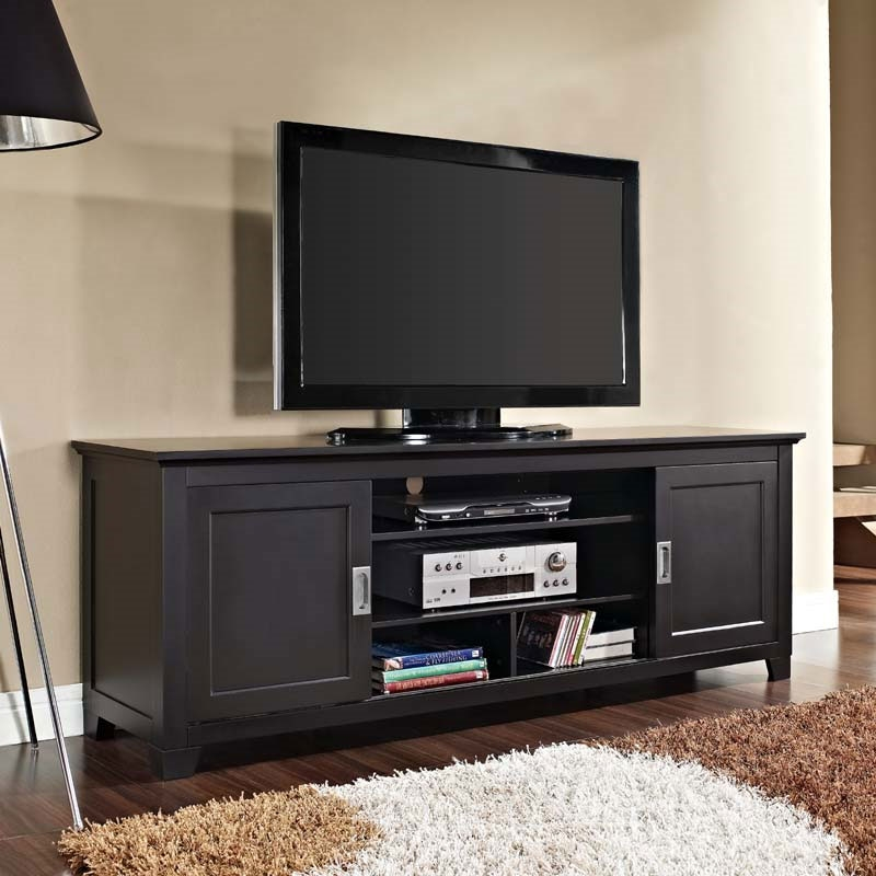 Fantastic Elite Solid Wood Black TV Stands Within Walker Edison Solid Wood 70 Inch Tv Stand With Sliding Doors Black (Image 25 of 50)