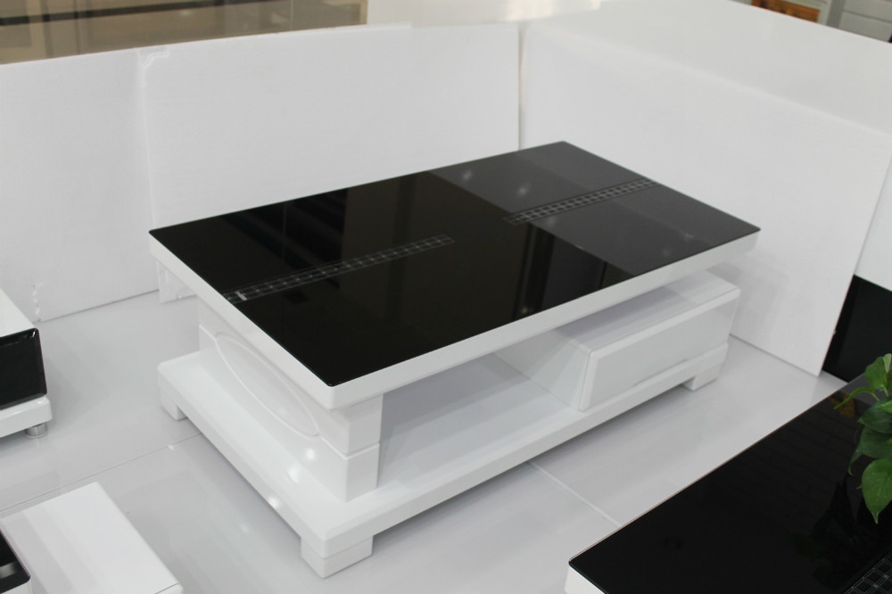 Fantastic Elite White And Black Coffee Tables With Regard To Black And White Nesting Coffee Table Osaki Contemporary Coffee (Image 18 of 40)
