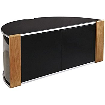 Fantastic Famous Black Corner TV Cabinets Regarding Sirius 850 Oak And Black Corner Tv Cabinet Amazoncouk Electronics (View 21 of 50)
