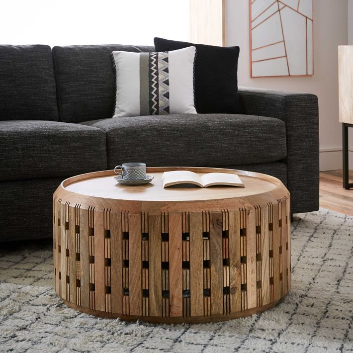 Fantastic Famous Boho Coffee Tables For Pierced Wood Drum Coffee Table West Elm (View 25 of 50)