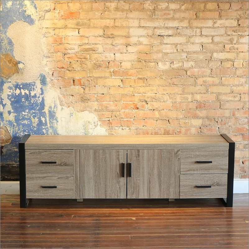Fantastic Famous Grey Wood TV Stands Throughout 70 Inch Wood Tv Stand Console Walker Edison Furniture Company (Image 21 of 50)